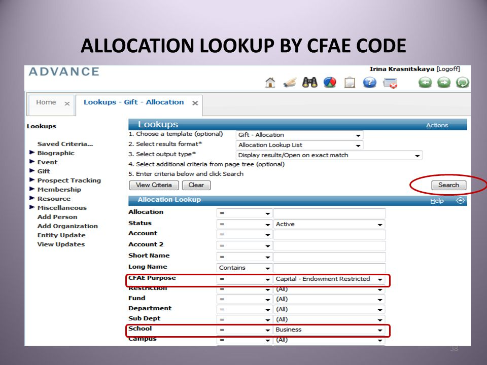 ALLOCATION LOOKUP BY CFAE CODE 38