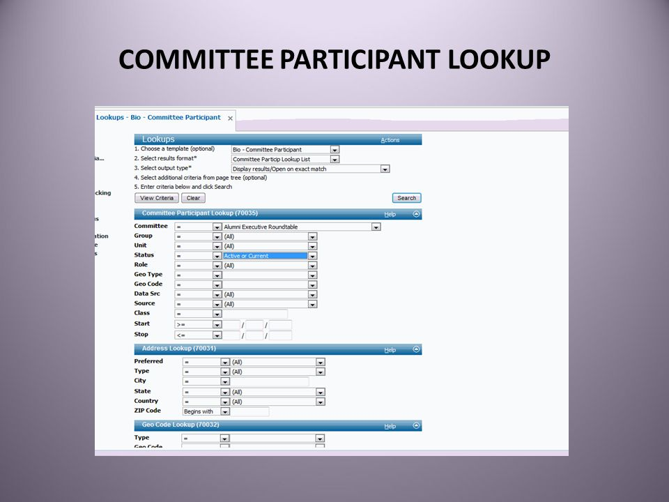 COMMITTEE PARTICIPANT LOOKUP