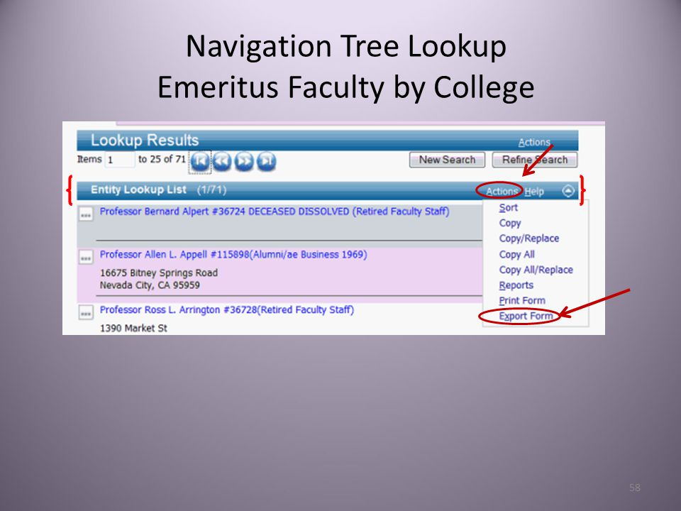 58 Navigation Tree Lookup Emeritus Faculty by College