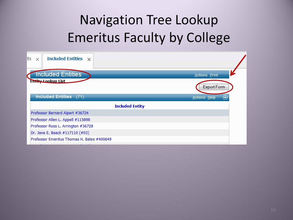 59 Navigation Tree Lookup Emeritus Faculty by College