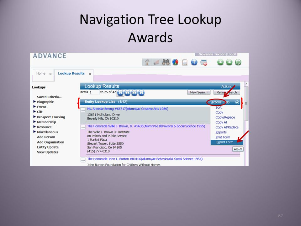 62 Navigation Tree Lookup Awards
