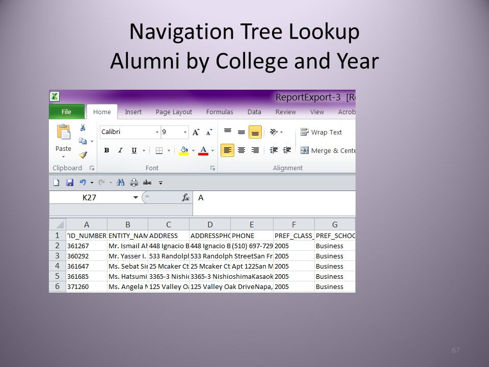 67 Navigation Tree Lookup Alumni by College and Year