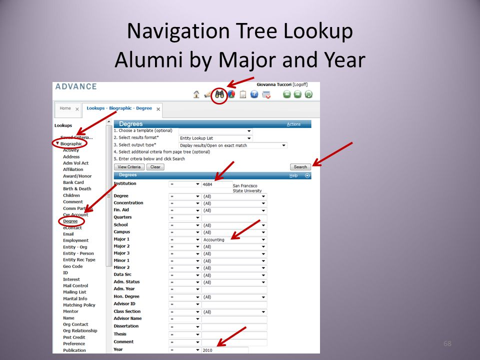 68 Navigation Tree Lookup Alumni by Major and Year