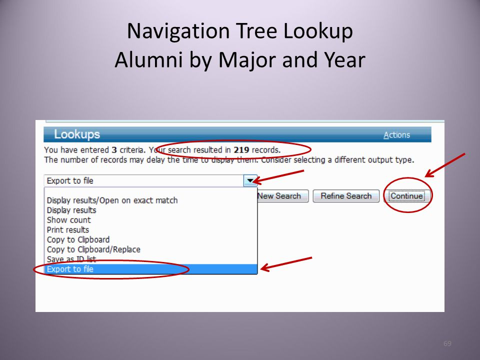 69 Navigation Tree Lookup Alumni by Major and Year