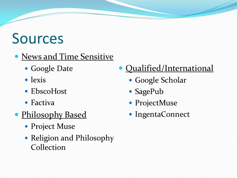 Sources News and Time Sensitive Google Date lexis EbscoHost Factiva Philosophy Based Project Muse Religion and Philosophy Collection Qualified/International Google Scholar SagePub ProjectMuse IngentaConnect