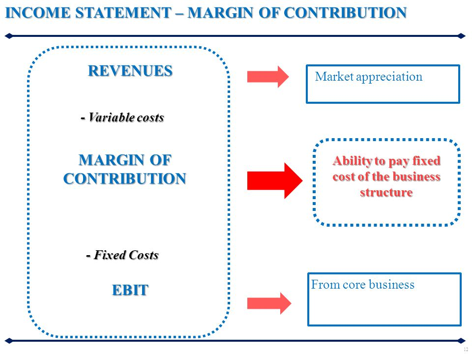 INCOME STATEMENT – MARGIN OF CONTRIBUTION REVENUES MARGIN OF CONTRIBUTION EBIT - Variable costs - Fixed Costs Ability to pay fixed cost of the busines