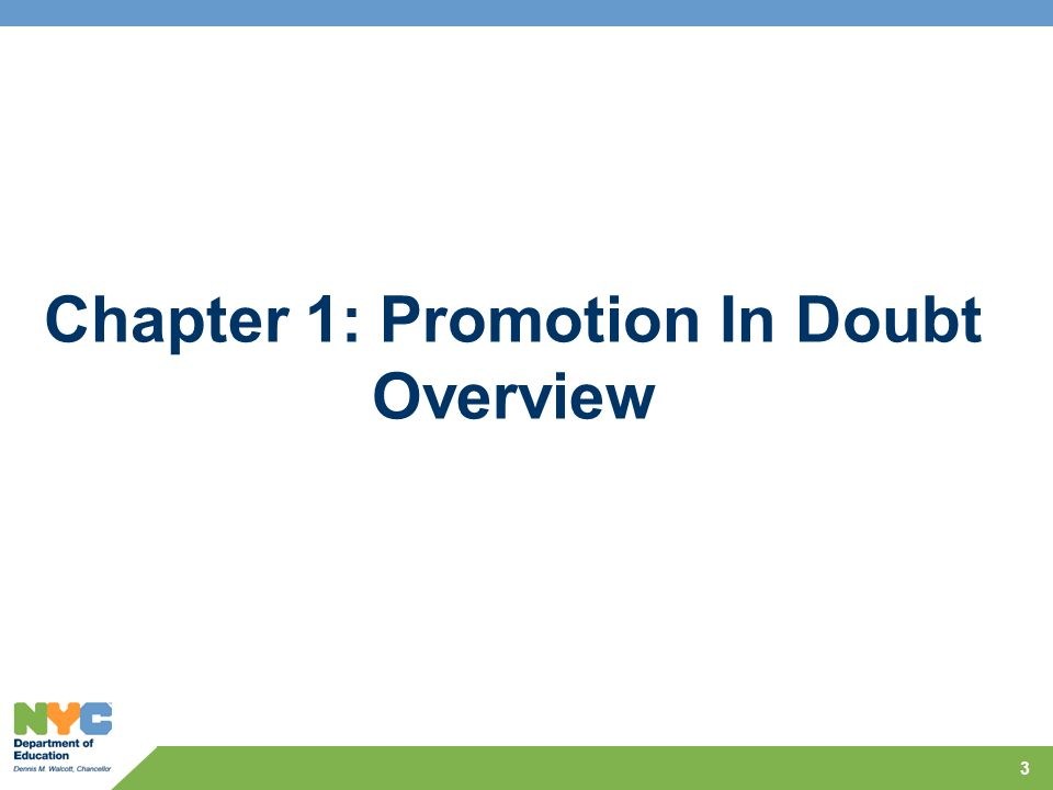 Chapter 1: Promotion In Doubt Overview 3