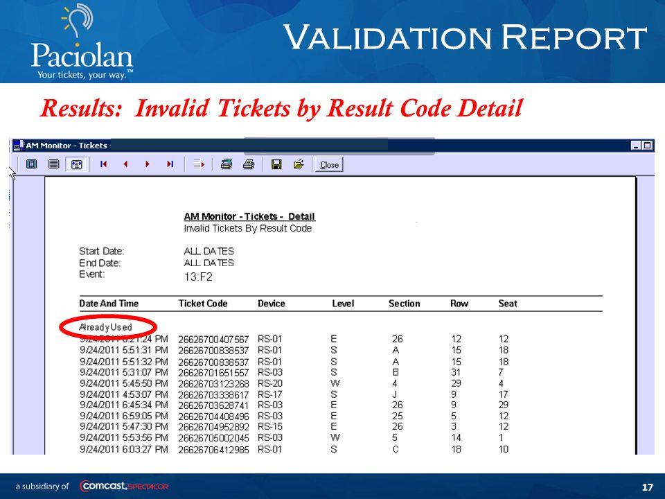 17 Validation Report Results: Invalid Tickets by Result Code Detail 13:F2
