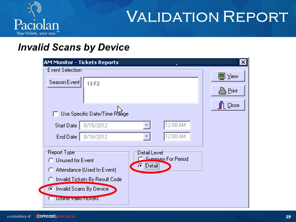 19 Validation Report Invalid Scans by Device 13:F2