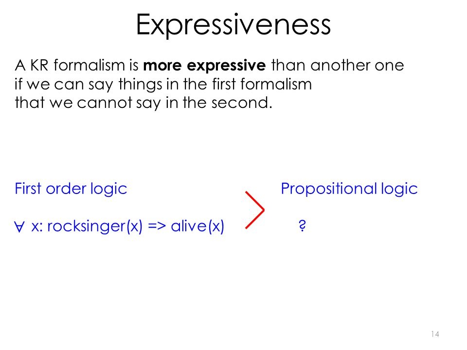 Expressiveness 14 A KR formalism is more expressive than another one if we can say things in the first formalism that we cannot say in the second.