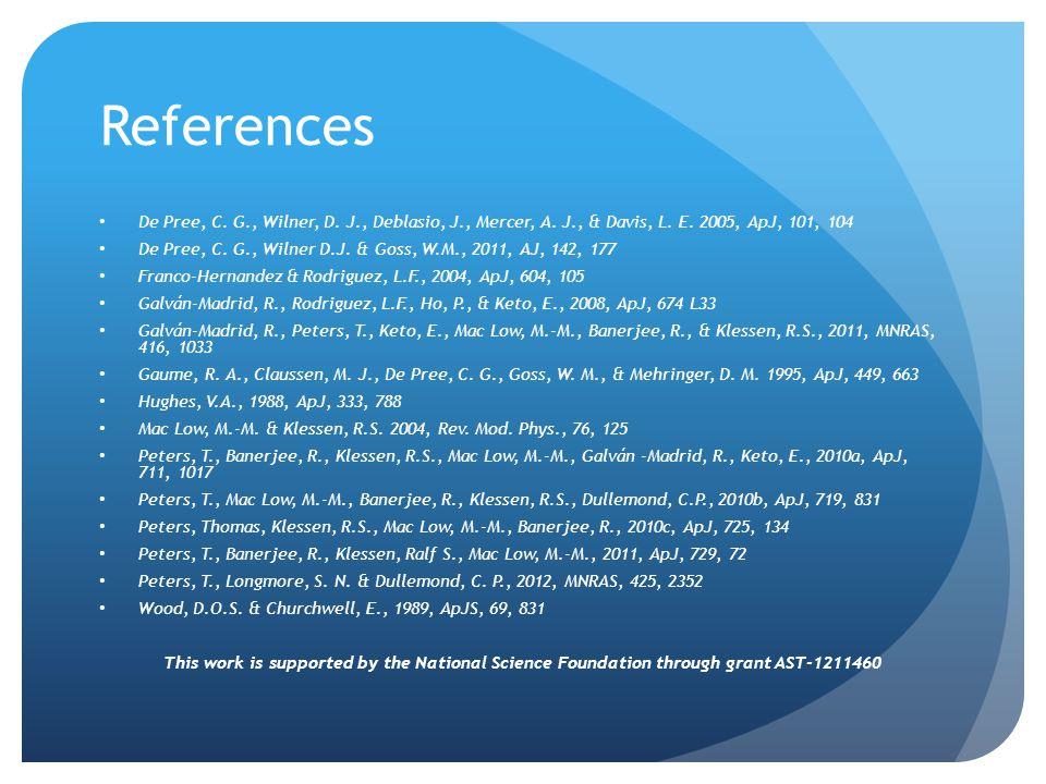 References De Pree, C. G., Wilner, D. J., Deblasio, J., Mercer, A. J., & Davis, L. E. 2005, ApJ, 101, 104 De Pree, C. G., Wilner D.J. & Goss, W.M., 20