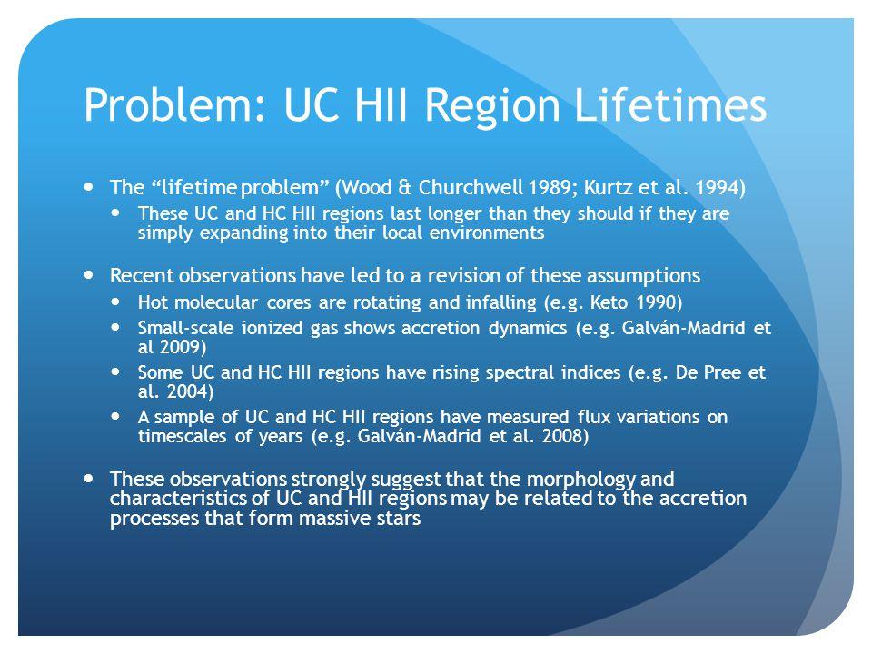 "Problem: UC HII Region Lifetimes The ""lifetime problem"" (Wood & Churchwell 1989; Kurtz et al. 1994) These UC and HC HII regions last longer than they"