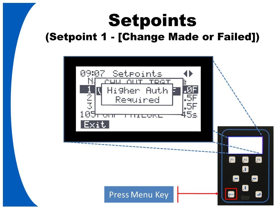 Setpoints (Setpoint 1 - [Change Made or Failed]) Press Menu Key