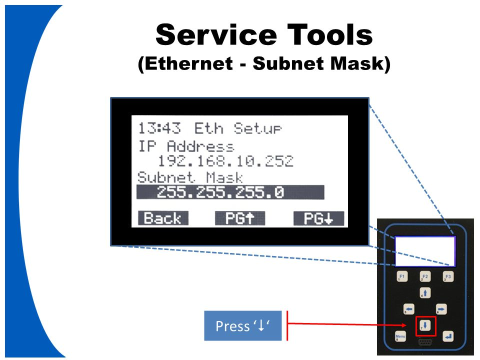 Service Tools (Ethernet - Subnet Mask) Press '  '