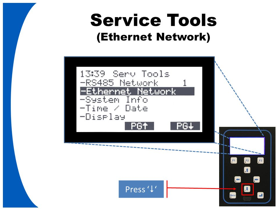 Service Tools (Ethernet Network) Press '  '