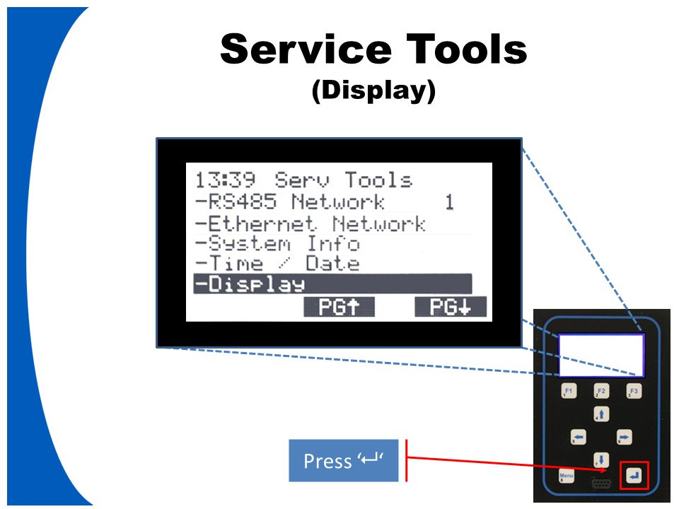 Service Tools (Display) Press '   '