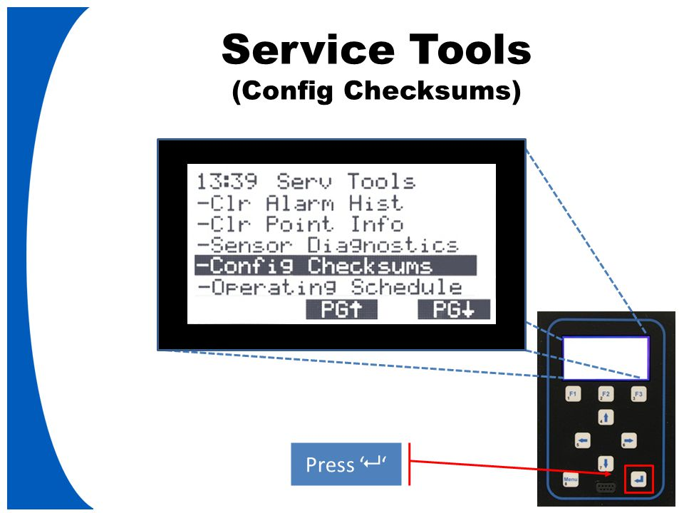 Service Tools (Config Checksums) Press '   '