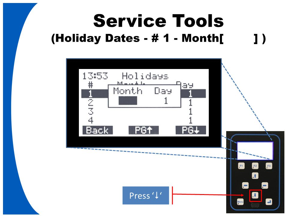 Service Tools (Holiday Dates - # 1 - Month[ ] ) Press '  '