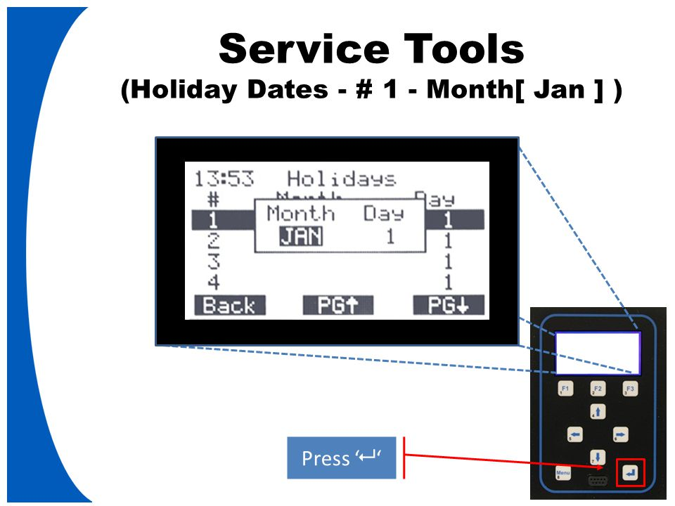 Service Tools (Holiday Dates - # 1 - Month[ Jan ] ) Press '   '