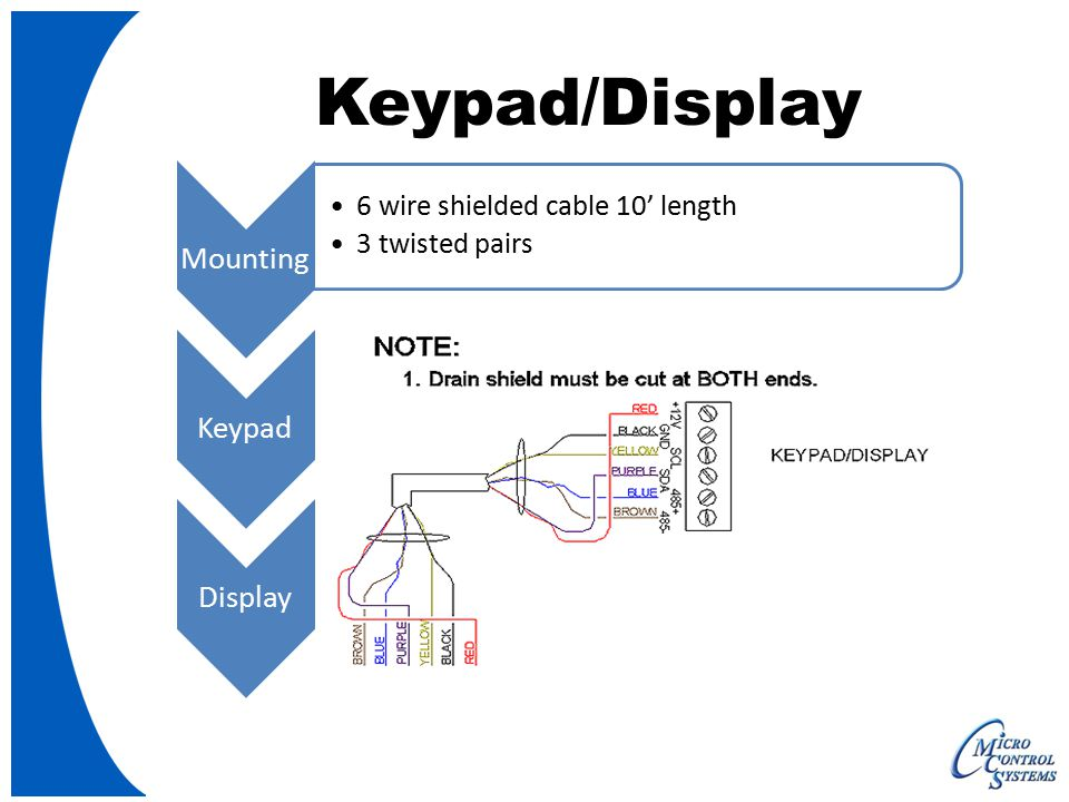 Keypad/Display Mounting 6 wire shielded cable 10' length 3 twisted pairs Keypad Three function keys Four directions keys Two selection keys (Menu & Enter) Display 128 x 64 dot pixel graphics LCD 2.8 diagonal viewing area White characters on dark background (reversible)