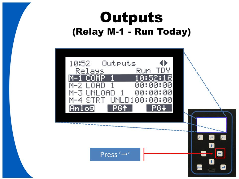 Outputs (Relay M-1 - Run Today) Press '  '