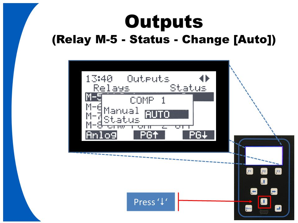 Outputs (Relay M-5 - Status - Change [Auto]) Press '  '
