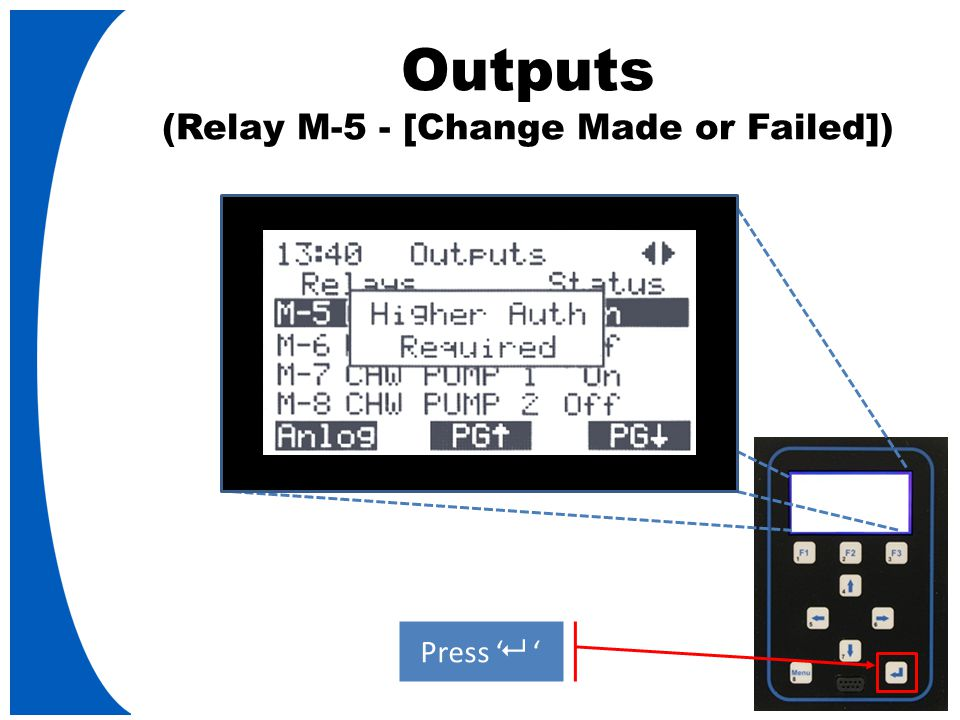 Outputs (Relay M-5 - [Change Made or Failed]) Press '   '