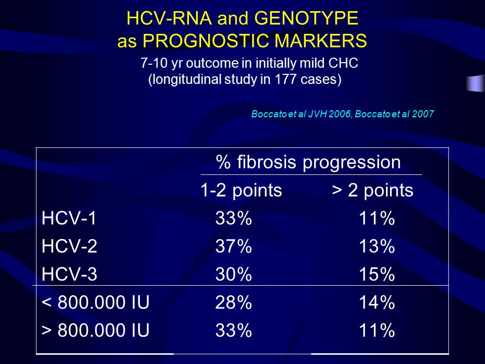 HCV-RNA and GENOTYPE as PROGNOSTIC MARKERS % fibrosis progression 1-2 points > 2 points HCV-1 33% 11% HCV-2 37% 13% HCV-3 30% 15% < 800.000 IU 28% 14% > 800.000 IU 33% 11% 7-10 yr outcome in initially mild CHC (longitudinal study in 177 cases) Boccato et al JVH 2006, Boccato et al 2007