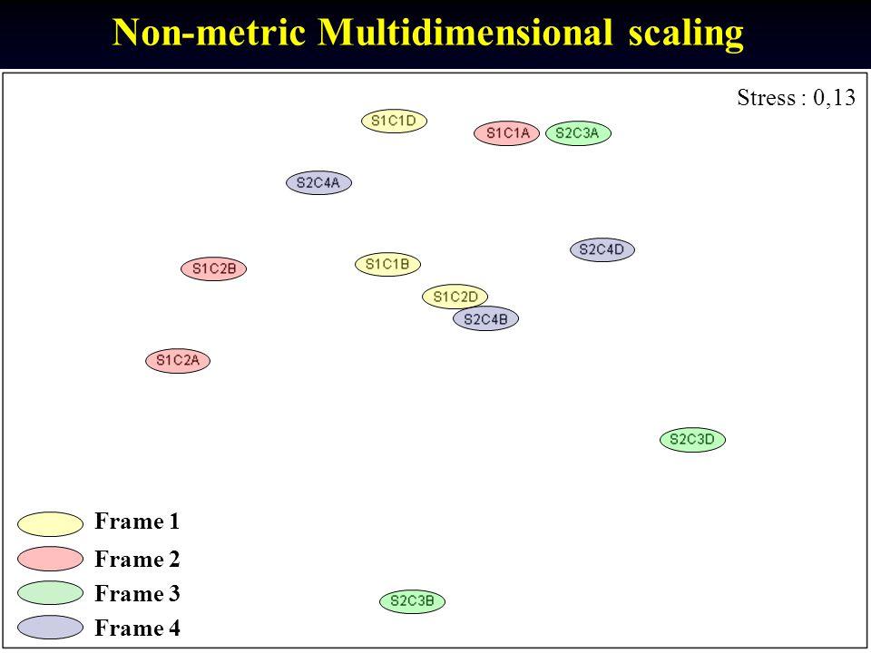 Stress : 0,13 Frame 1 Frame 2 Non-metric Multidimensional scaling Frame 3 Frame 4