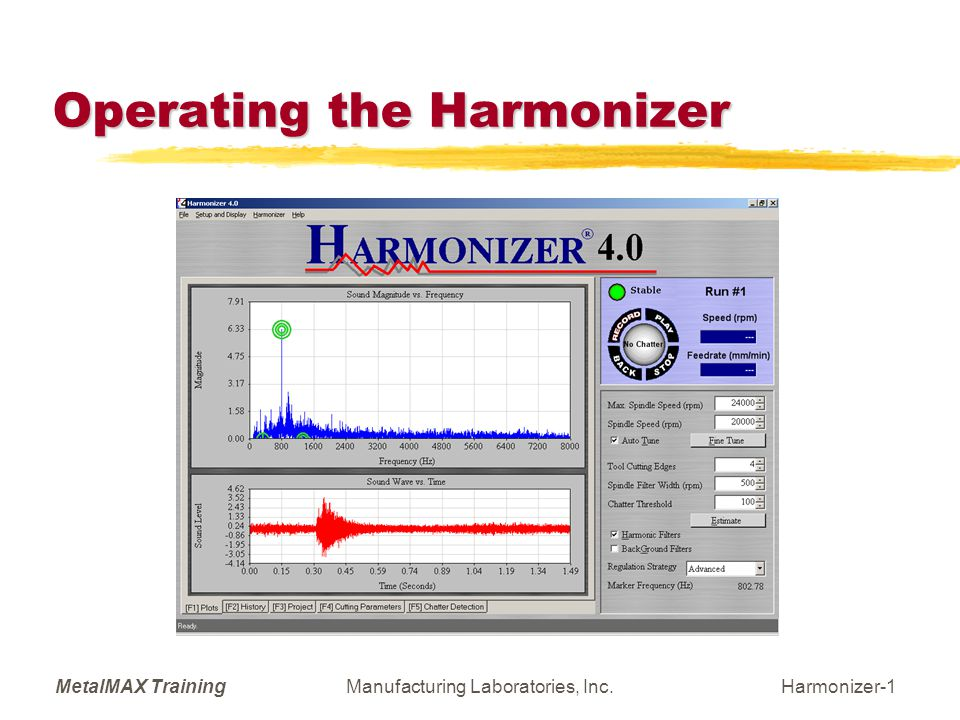 MetalMAX TrainingManufacturing Laboratories, Inc.Harmonizer-2 General Procedure  Record background noise with machine operating at some high spindle speed.