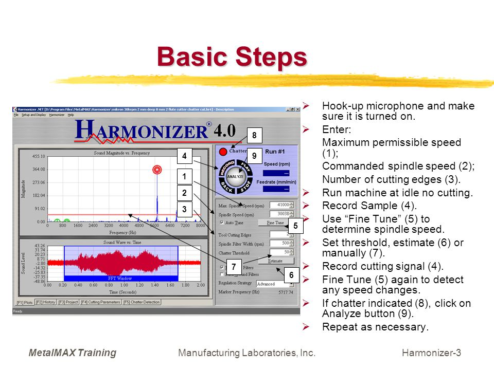 MetalMAX TrainingManufacturing Laboratories, Inc.Harmonizer-4 Detection of Chatter (Analyze Button)  Lists:  Starting Speed;  Suggested Spindle Speed (Harmonizer Spindle Speed);  Detected Chatter Frequencies.