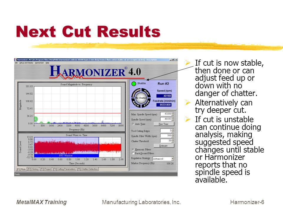 MetalMAX TrainingManufacturing Laboratories, Inc.Harmonizer-17 Run and Record New Cut  If new cut is not stable repeat Analyze step.