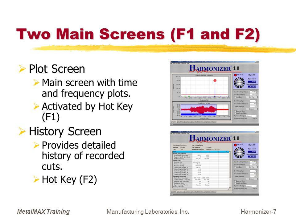MetalMAX TrainingManufacturing Laboratories, Inc.Harmonizer-8 Detailed Setup/Display (F3) 7 Setup/Display Options  F1: Main screen with frequency and time displays.