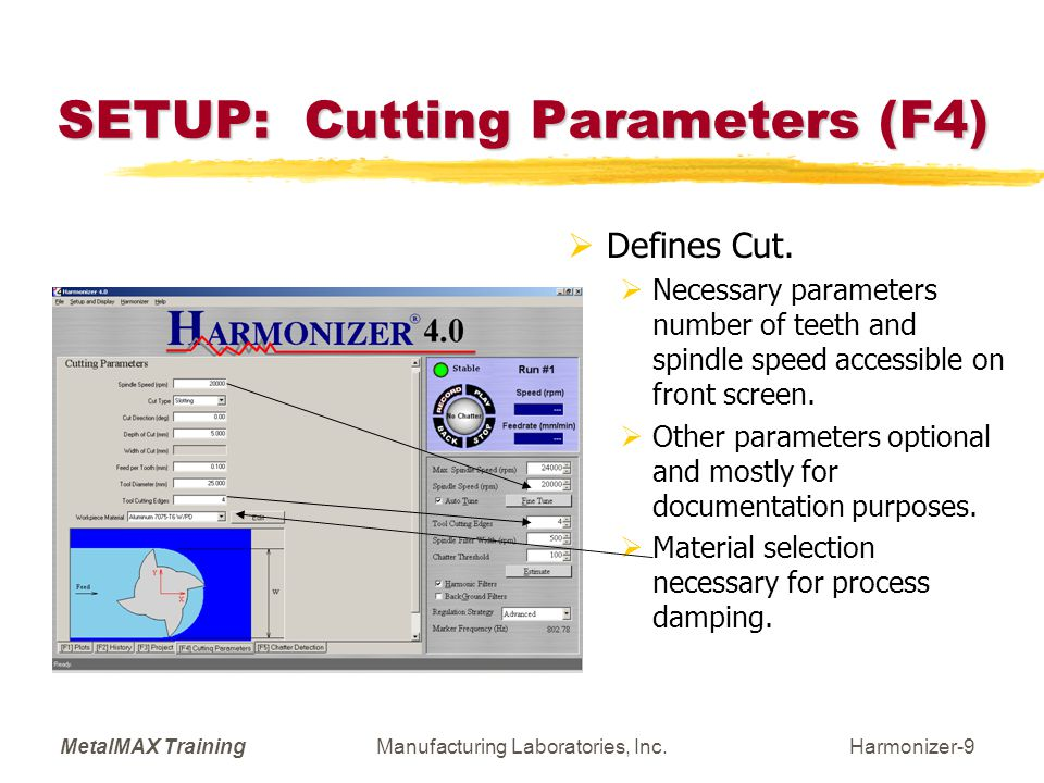 MetalMAX TrainingManufacturing Laboratories, Inc.Harmonizer-20 Reselecting Speed  Can use back button to reselect spindle speed.