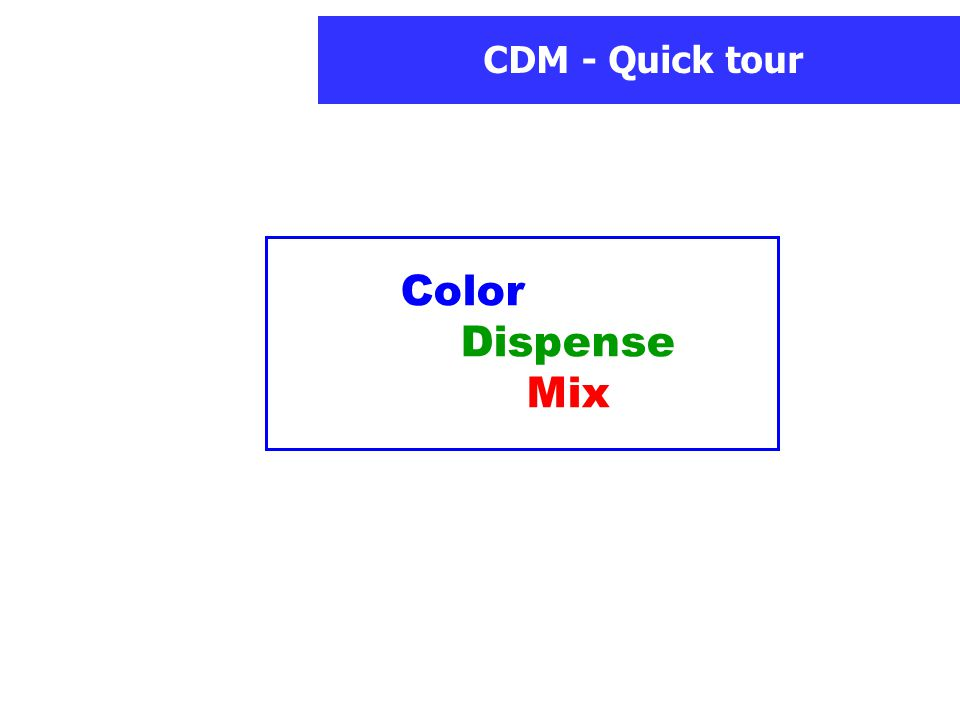 CDM - Quick tour Color Dispense Mix