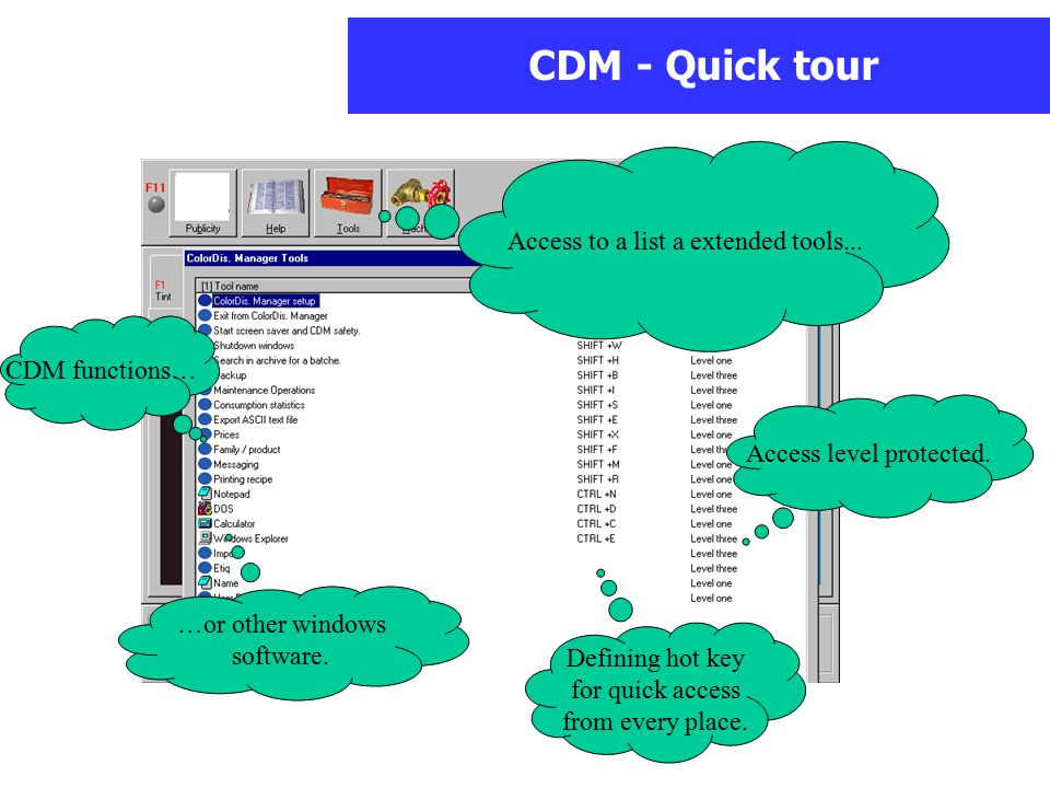 CDM - Quick tour Access to a list a extended tools...