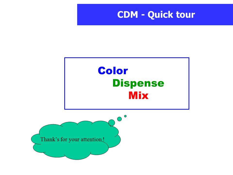 CDM - Quick tour Thank's for your attention ! Color Dispense Mix