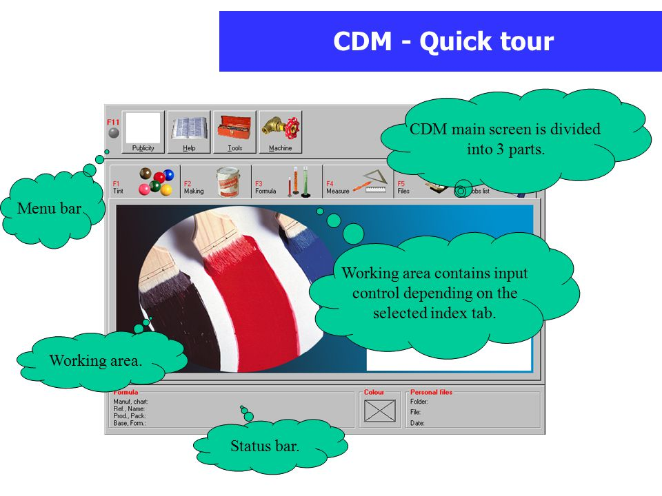 CDM - Quick tour CDM main screen is divided into 3 parts.