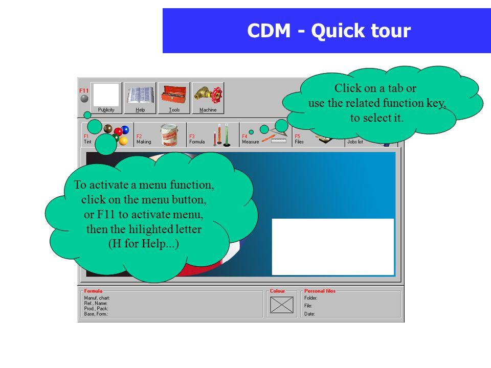 CDM - Quick tour Click on a tab or use the related function key, to select it.