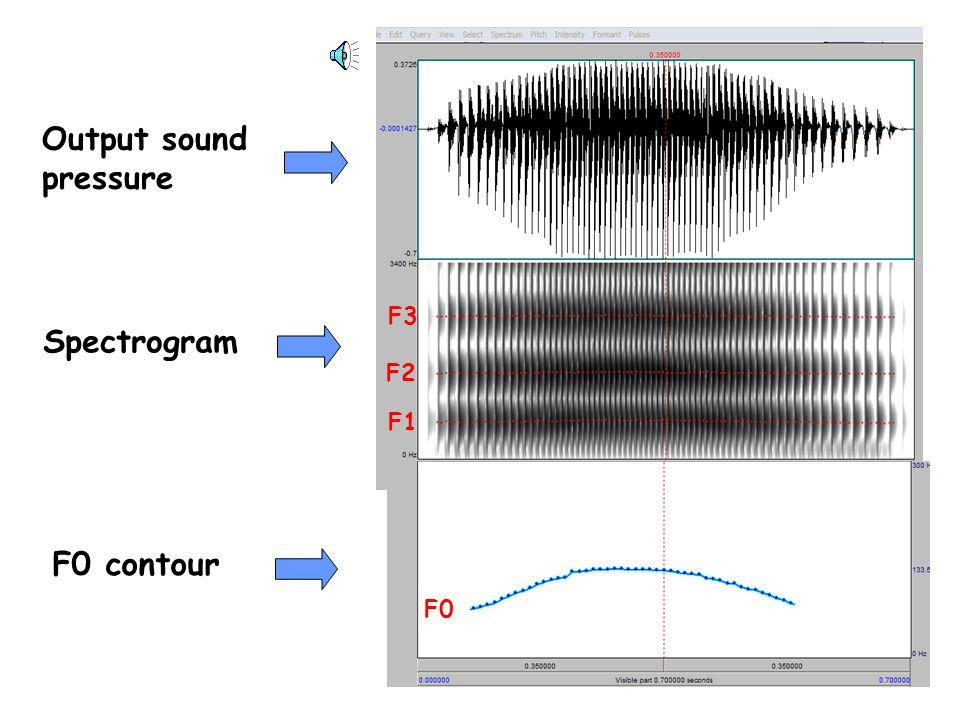 vocal folds output pressure Sagittal viewTubular approximation Source: glottal area/flow Low F0 Med F0 High F0
