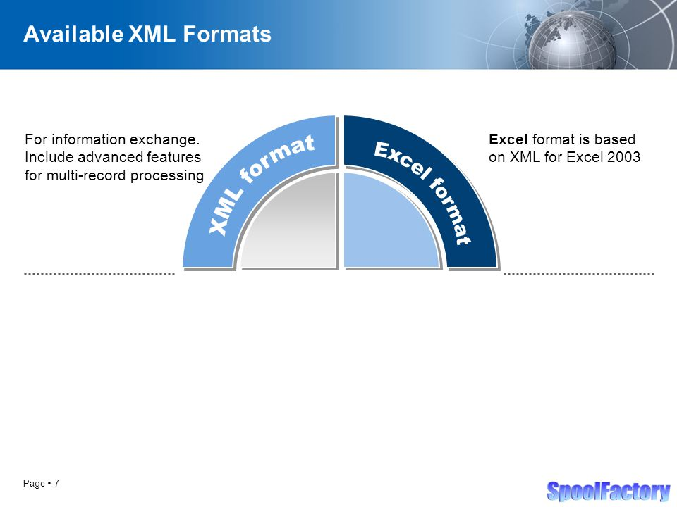 Page  7 Available XML Formats For information exchange.