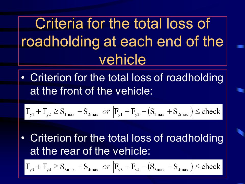 Criteria for the total loss of roadholding at each end of the vehicle Criterion for the total loss of roadholding at the front of the vehicle: Criteri