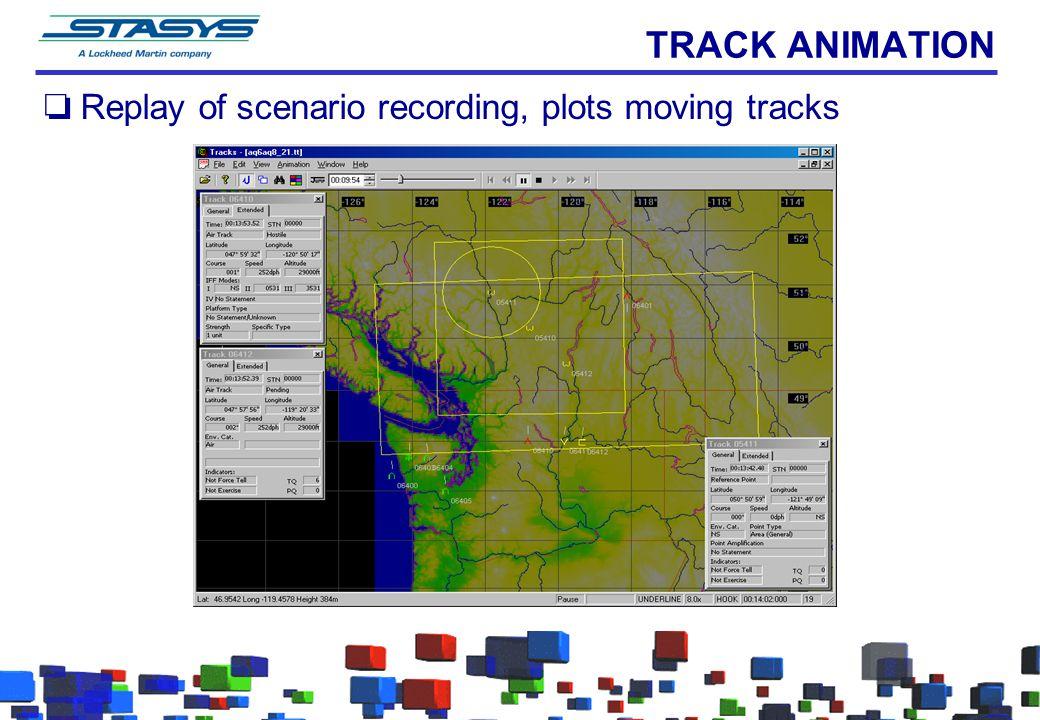 TRACK ANIMATION oReplay of scenario recording, plots moving tracks