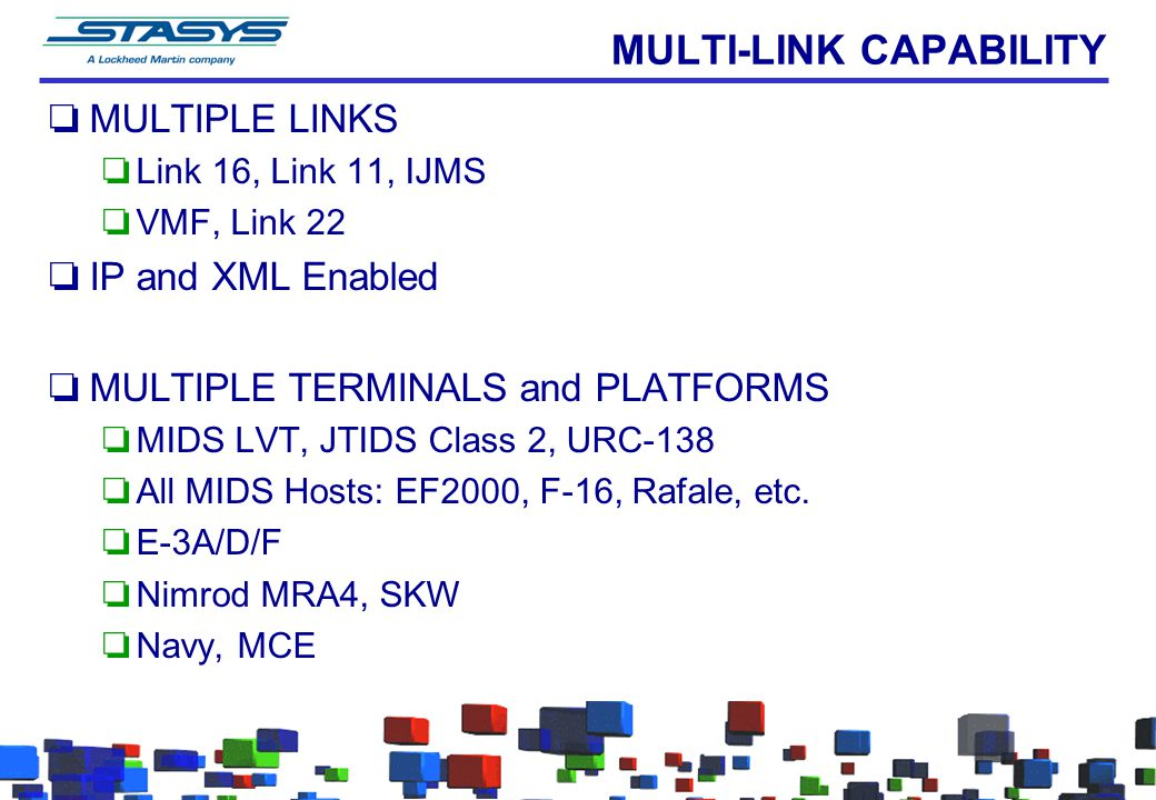 MULTI-LINK CAPABILITY oMULTIPLE LINKS oLink 16, Link 11, IJMS oVMF, Link 22 oIP and XML Enabled oMULTIPLE TERMINALS and PLATFORMS oMIDS LVT, JTIDS Class 2, URC-138 oAll MIDS Hosts: EF2000, F-16, Rafale, etc.