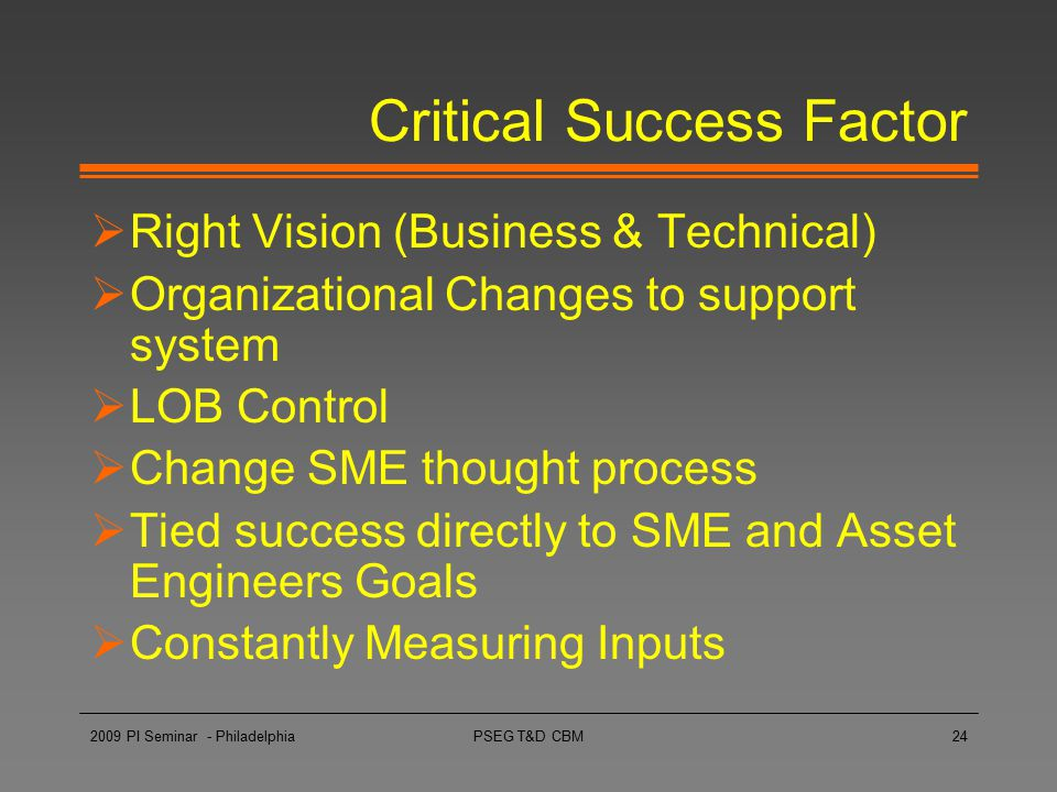 PSEG T&D CBM24 Critical Success Factor  Right Vision (Business & Technical)  Organizational Changes to support system  LOB Control  Change SME tho