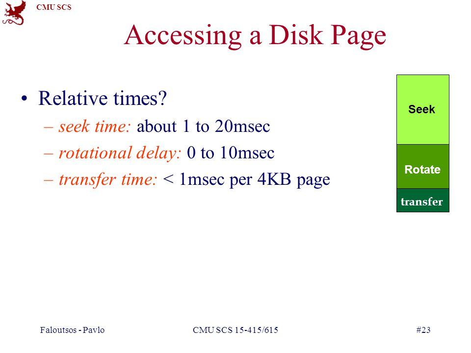CMU SCS Faloutsos - PavloCMU SCS 15-415/615#23 Accessing a Disk Page Relative times.