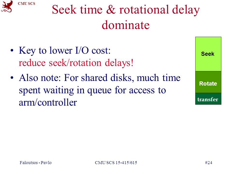 CMU SCS Faloutsos - PavloCMU SCS 15-415/615#24 Seek time & rotational delay dominate Key to lower I/O cost: reduce seek/rotation delays.