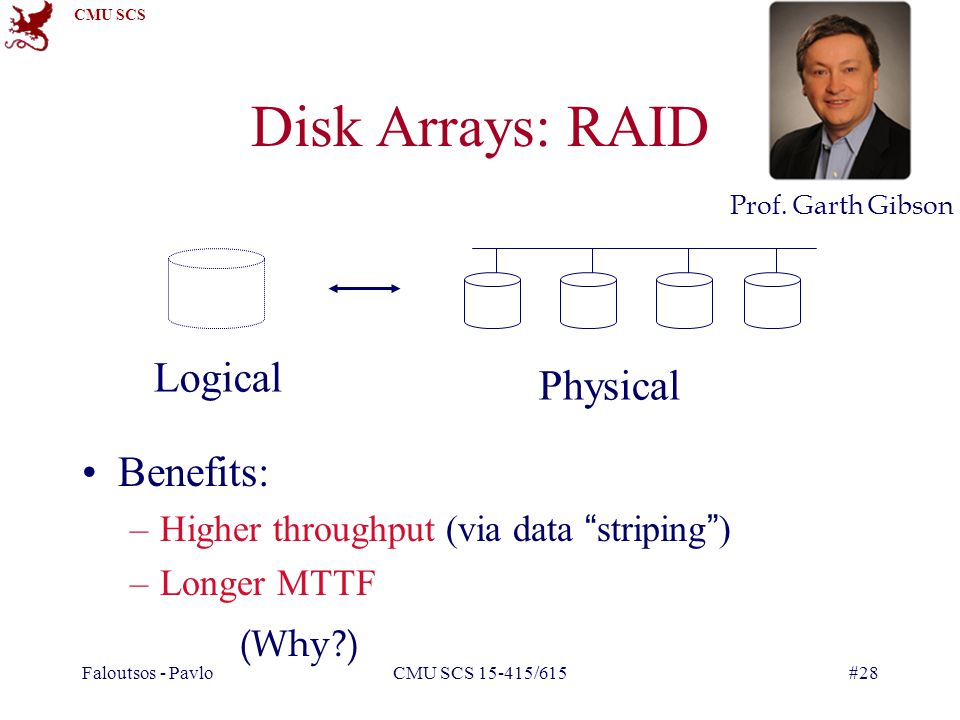 CMU SCS Faloutsos - PavloCMU SCS 15-415/615#28 Disk Arrays: RAID Benefits: –Higher throughput (via data striping ) –Longer MTTF Logical Physical (Why?) Prof.