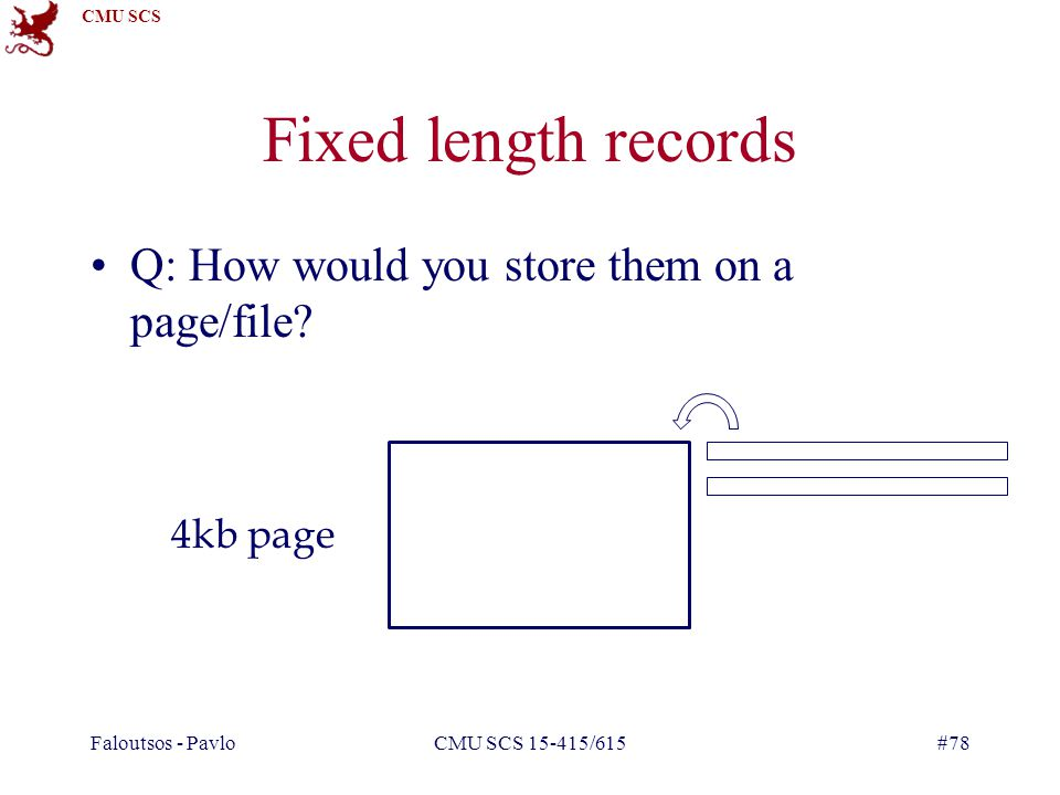 CMU SCS Faloutsos - PavloCMU SCS 15-415/615#78 Fixed length records Q: How would you store them on a page/file.