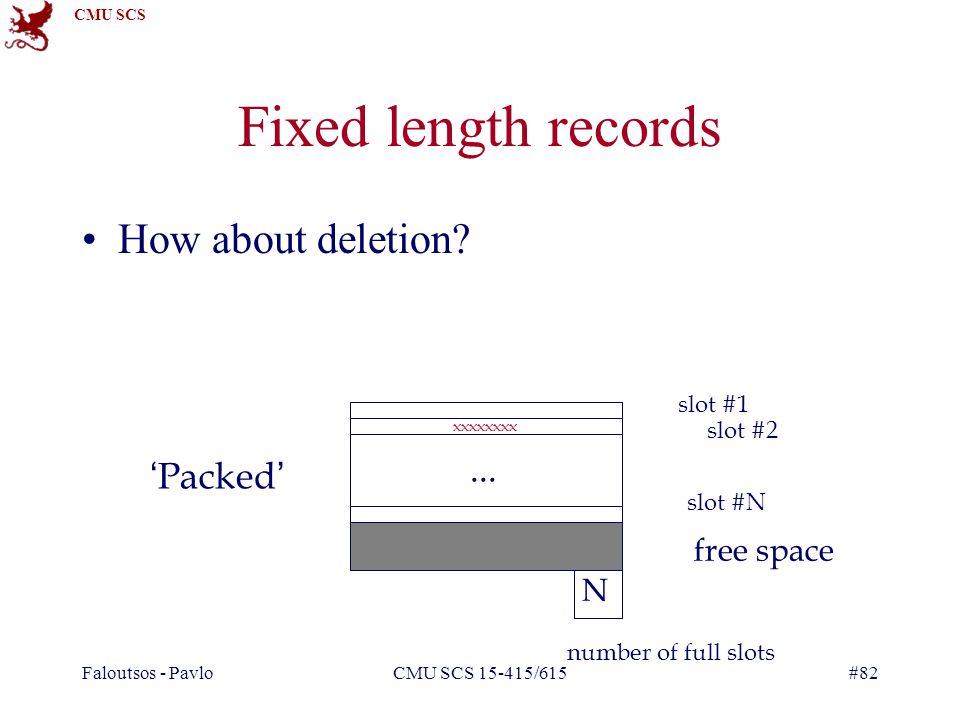 CMU SCS Faloutsos - PavloCMU SCS 15-415/615#82 Fixed length records How about deletion.